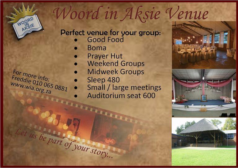 Woord in Aksie Pretoria venu hire
